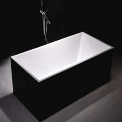 6813B-1500 Black Four Square Straight Sided Freestanding Bath