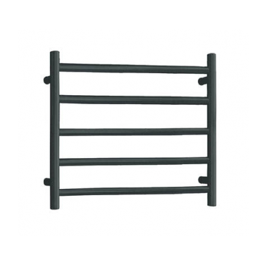 SL115B - 530x600 5 Bar Round Heated Towel Rail Black