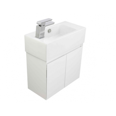 8575L - Kolum Junior 500 Wall Hung Left Hand Basin Vanity in Gloss White