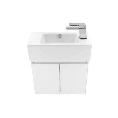 8575R - Kolum Junior 500 Wall Hung Right Hand Basin Vanity in Gloss White
