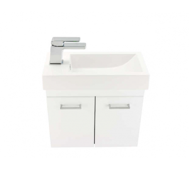 3729 - Venice Junior Plus 500 Wall Hung White Vanity with Polymarble Basin