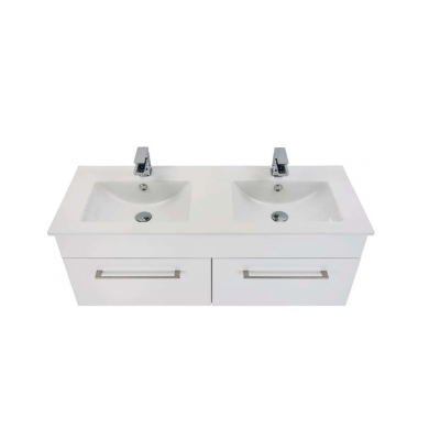 3260 - Citi 1200 Wall Hung 2 Drawer Double Basin Vanity in Gloss White