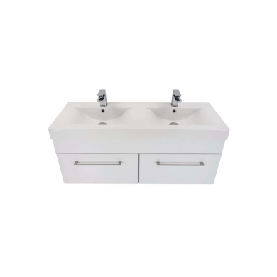 3260Plus - Citi 1200 Wall Hung 2 Drawer Double Basin Composite Plus Vanity in Gloss White