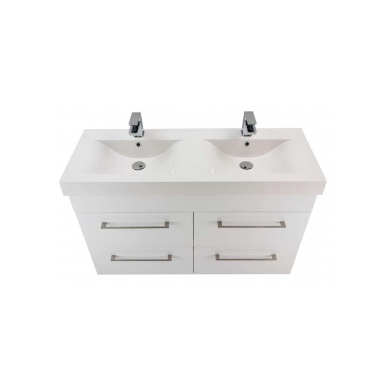 3237Plus - Citi 1200 Wall Hung 4 Drawer Double Basin Composite Plus Vanity in Gloss White