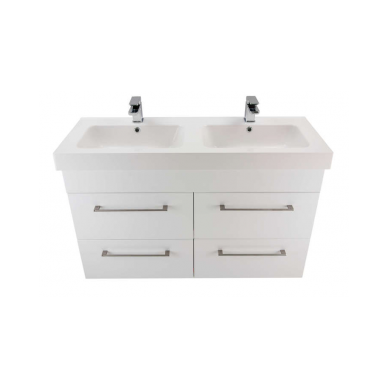 3237V - Citi 1200 Wall Hung 4 Drawer Double Basin Composite Vasto Vanity in Gloss White