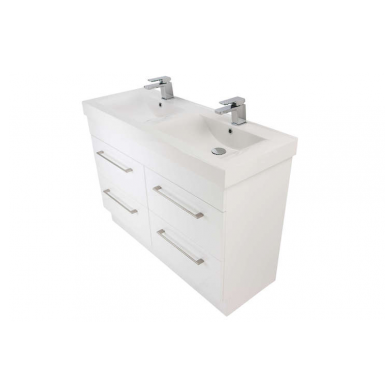 3270Plus - Citi 1200 Floor Standing 4 Drawer Double Basin Composite Plus Vanity in Gloss White