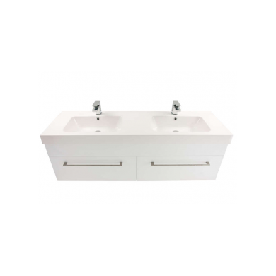3269 - Citi 1500 Wall Hung 2 Drawer Double Basin Composite Vasto Vanity in Gloss White