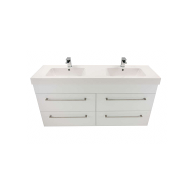 3273 - Citi 1500 Wall Hung 4 Drawer Double Basin Composite Vasto Vanity in Gloss White