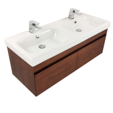 Flex 1200 Wall Hung 2 Drawer Double Basin Vanity in 4 Colours