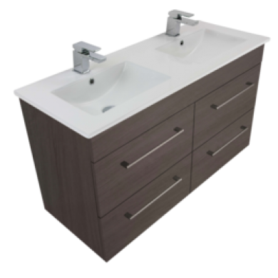 3237 - Citi 1200 Wall Hung 4 Drawer Double Basin Vanity in 7 Colours