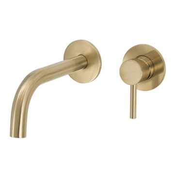 SCARAB WALL MOUNT BASIN MIXER KNURLED HANDLE BRUSHED GOLD